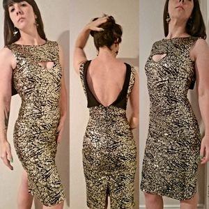 Tatyana Gold Digger Sequin Cocktail Pencil Dress